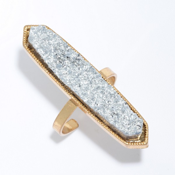"""Druzy Statement Fashion RIng.  - Druzy approximately 1.5""""  - Adjustable Open Metal Band"""