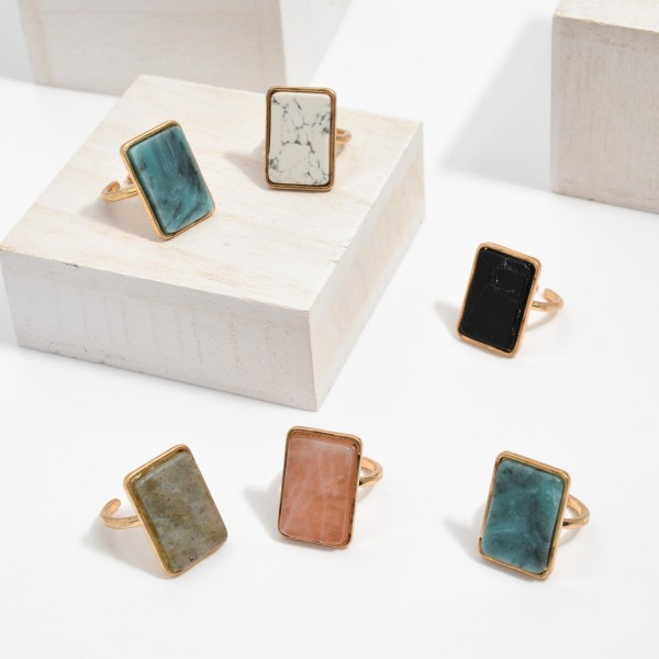"""Semi Precious Natural Stone Ring.  - One size fits most  - Stone 1"""""""
