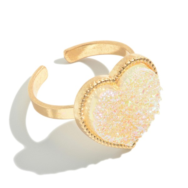 Druzy Heart Ring in Gold.  - One size fits most  - Approximately .75""