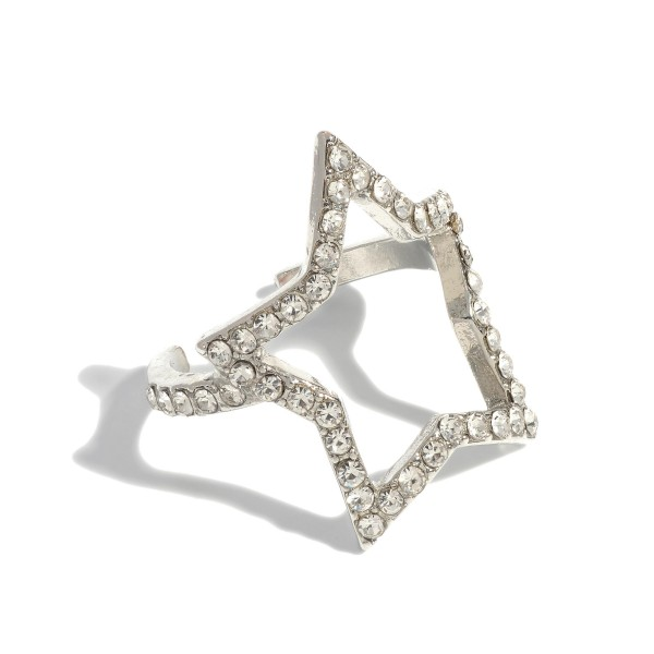 Rhinestone Star Ring.  - One size fits most - Star 1""
