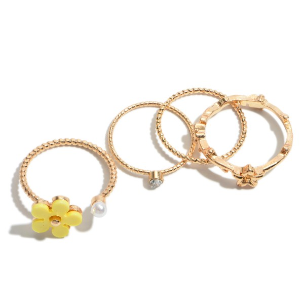 4 PC Textured Flower Decor Ring Set in Gold.  - 4 PC Per Set - One size fits most