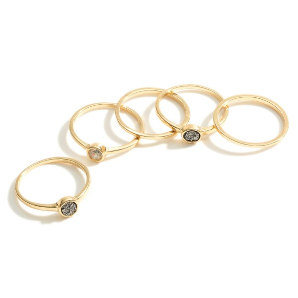 """Set of Five Rings Featuring Druzy and Cubic Zirconia Accents.   - One Size Fits Most - Rings Approximately 3/8"""" in Diameter"""