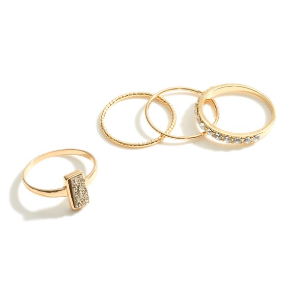 "Set of Four Gold Rings Featuring Druzy and Cubic Zirconia Accents.   - Rings Approximately 3/8"" in Diameter"