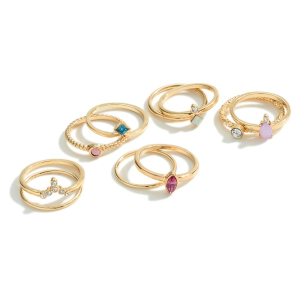 Set of Five Gold Rings Featuring Multicolor Stone Accents and Rhinestone Details.   - One Size Fits Most