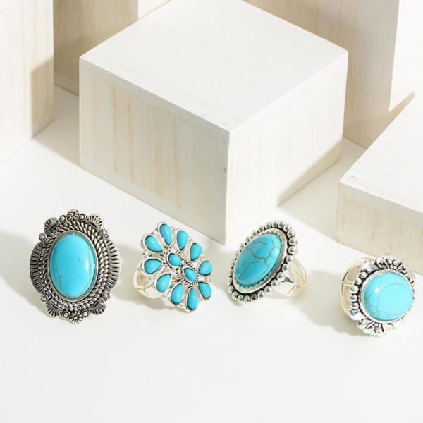 """Turquoise Ring Featuring Engraved Details.   - Approximately 1.5"""" Long - One Size Fits Most (Elastic Stretch in Ring Band)"""