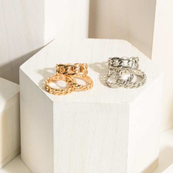 Set of Three Metal Chain Link Rings.  - Size 7
