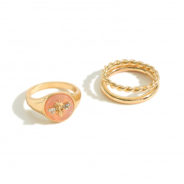 Set of Two Gold Rings Featuring Natural Stone Accents and CZ Bumblebee Detail.   - Size 7 Rings