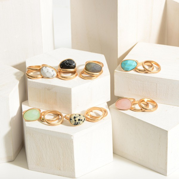 Set of Three Gold Natural Stone Rings.  - Size 7
