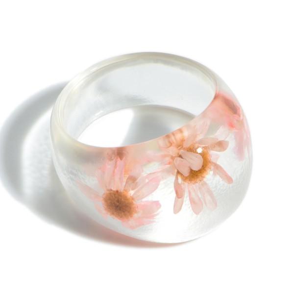 Resin Flower Ring.   - Approximately 11mm in Diameter