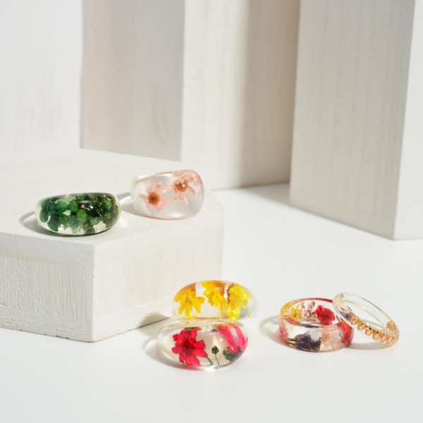 Clear Resin Ring Featuring Gold Accents.  - Approximately 11mm in Diameter