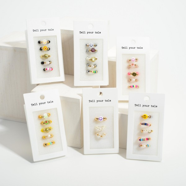 Set of Five Glass Bead Elastic Rings Featuring Smiley Face Accents.   - Approximately 11mm in Diameter