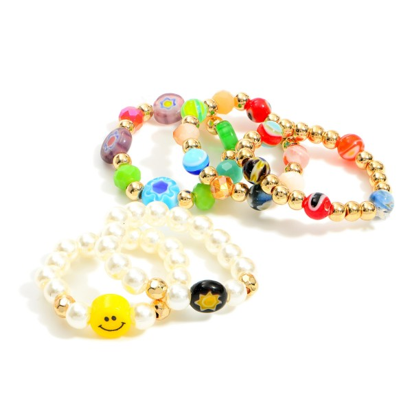 Set of Three Beaded Elastic Rings Featuring Smiley Face Accent.   - Approximately 11mm in Diameter