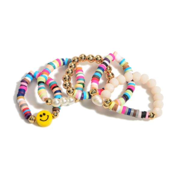 Set of Five Beaded Elastic Rings Featuring Smiley Face Accent.   - Approximately 11mm in Diameter