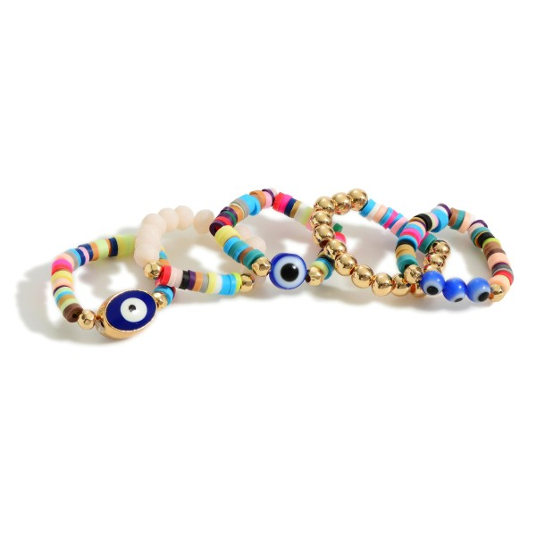 Set of Three Beaded Rings Featuring Evil Eye Accents.  - One Size Fits Most
