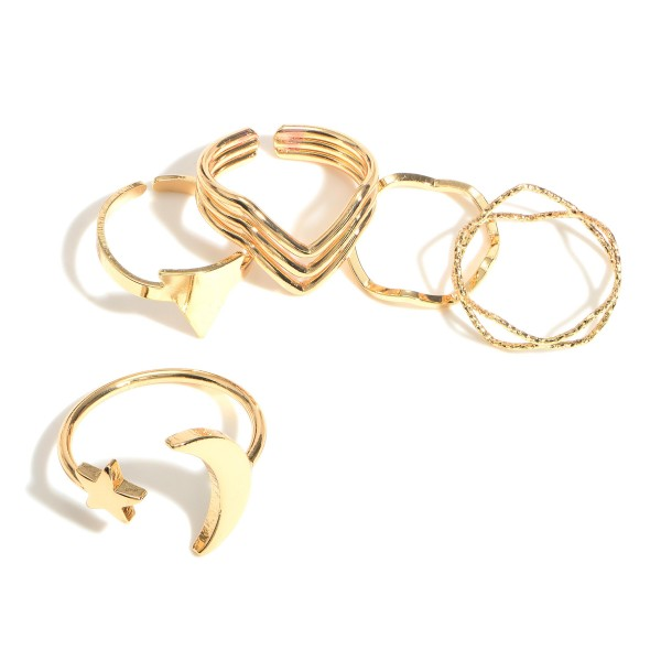 Set of Five Gold Rings.   - Rings Approximately Size 7