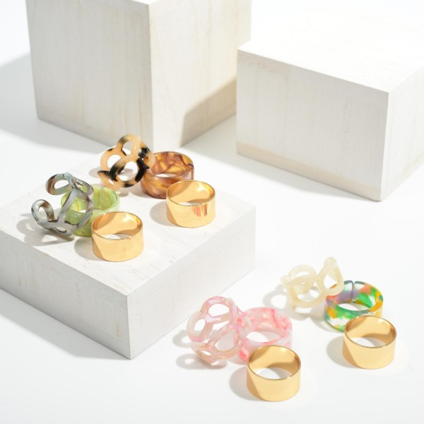 Set of Three Resin Rings and Gold Tone Band Ring  - Size 7