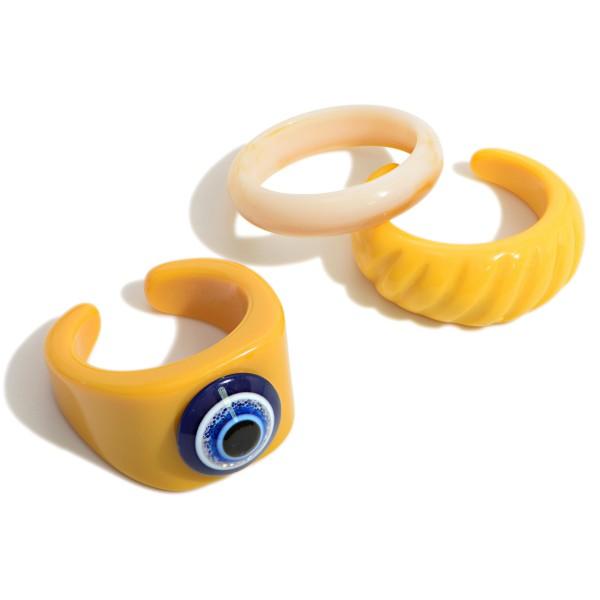 Set of Three Evil Eye Resin Rings  - Size 7