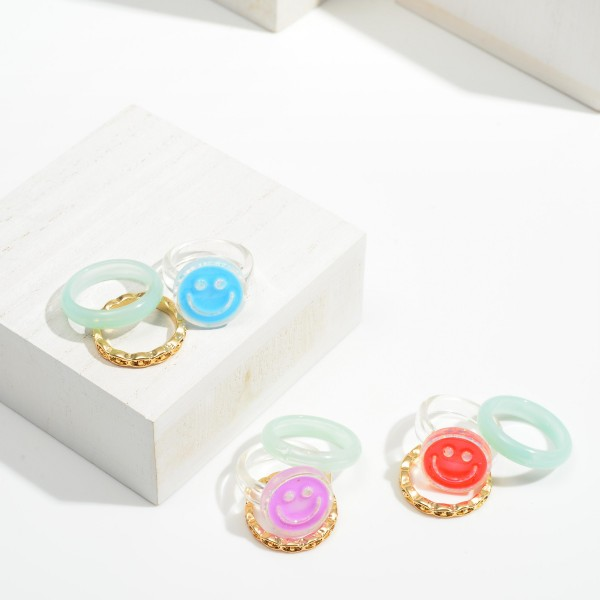 Set of Three Resin Rings Featuring Smiley Face and Gold Tone Ring  - Size 7