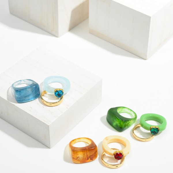 Set of Three Resin Rings Featuring Heart Rhinestone  - Size 7