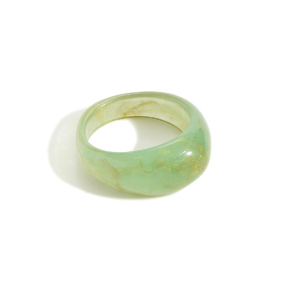 Simple Resin Ring Featuring Gold Swirl  - Size 7