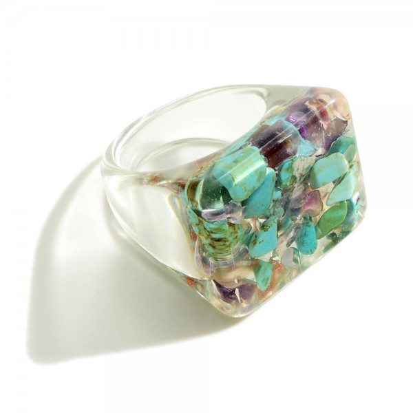 Clear Resin Ring With Flower Accent  - Ring Size 7
