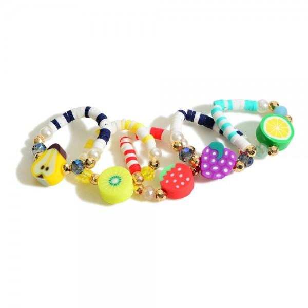 Set of 5 Beaded Stretch Rings with Fruit Center Bead  - Approximately 11mm in Diameter