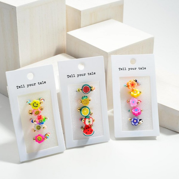 Set of Five Smiley Face Flower Elastic Beaded Rings with Center Bead  - Approximately 11mm in Diameter