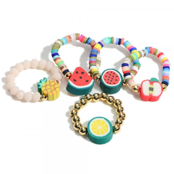 Set of Five Fruity Elastic Beaded Rings with Center Bead  - Approximately 11mm in Diameter