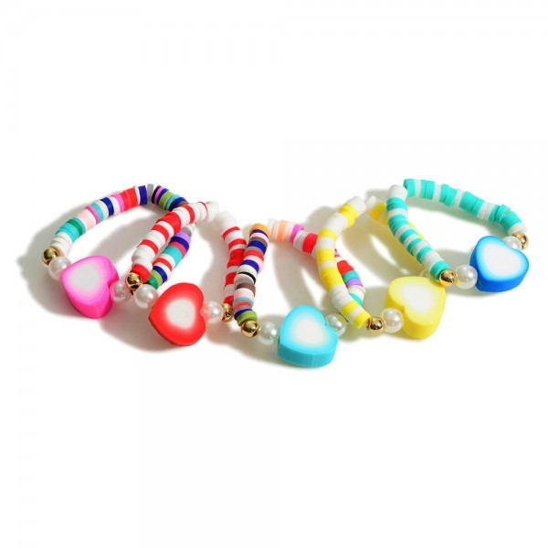 Set of Five Heishi Bead Stretch Rings Featuring Colorful Heart Bead Center and Pearl Accents  - Approximately 11mm in Diameter