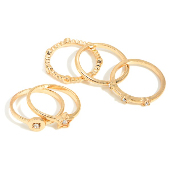 Set of Five Gold Toned Stackable Rings Featuring Rhinestone Accents  - Size 7