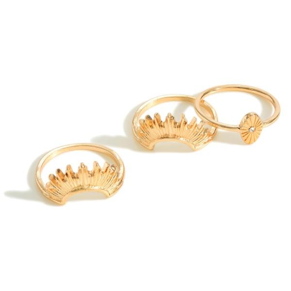 Set of 3 Rising Sun Gold Tone Rings  - Size 7