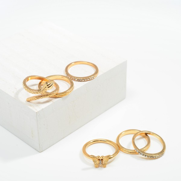 Set of Three Stackable Rings Featuring Butterfly Design and Rhinestone Accents  - Size 7