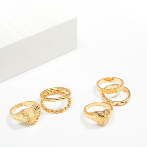 Set of Three Stackable Rings Featuring Heart Design and Rhinestone Accents  - Size 7