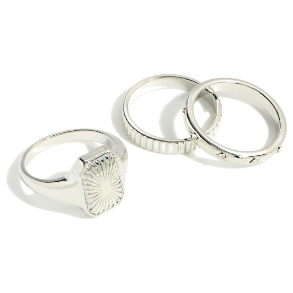 Set of Three Stackable Rings With Rhinestone Accents  - Size 7
