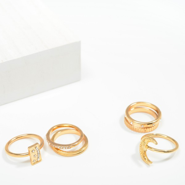 Set of Three Stackable Rings Featuring Crescent Moon and Rhinestone Accents  - Size 7