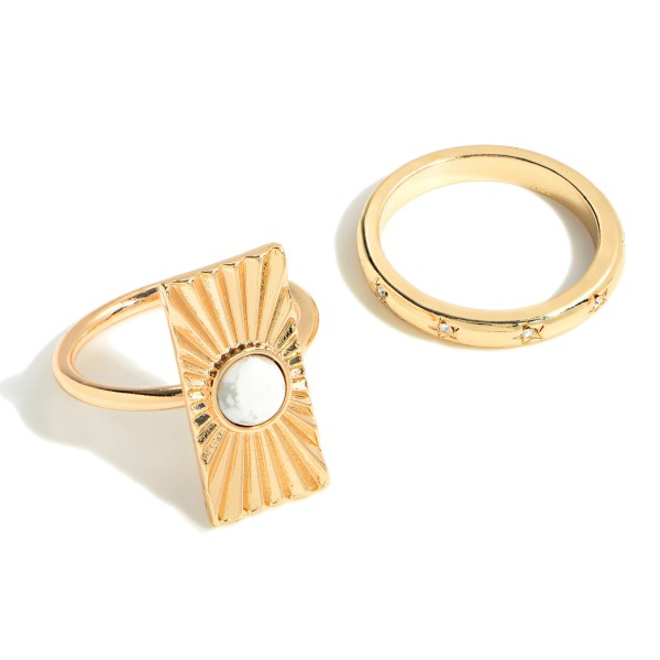 Set of Two Gold Toned Rings Featuring Semi Precious Stone and Rhinestone Accents  - Size 7