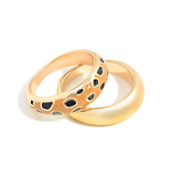 Set of Two Stackable Gold Toned and Cheetah Print Rings  - Size 7