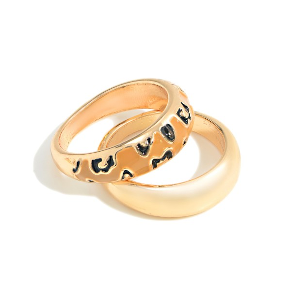 Set of Two Stackable Gold Toned and Leopard Print Rings  - Size 7