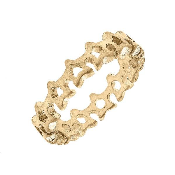 Star Ring  - Base Metal With Worn Gold Plating