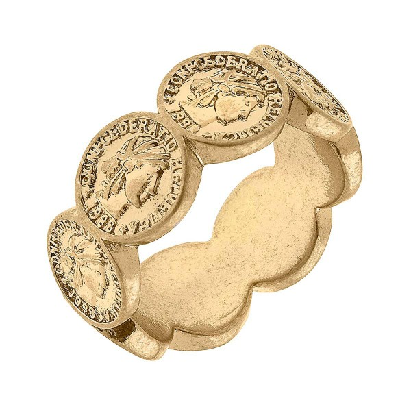 Statement Coin Ring  - Base Metal With Worn Gold Plating