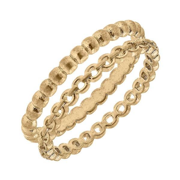 Petite Stacking Chain Link Ring Set  - Base Metal With Worn Gold Plating - Set of 2