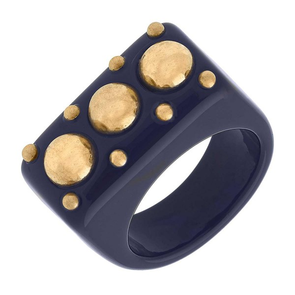Studded Resin Ring Featuring Rhinestone Accents  - Size 7