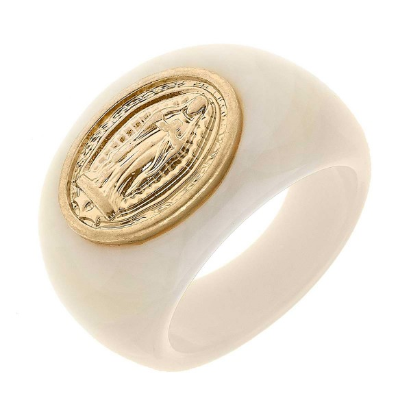 Resin Ring Featuring Gold Tone Roman Seal  - Size 7