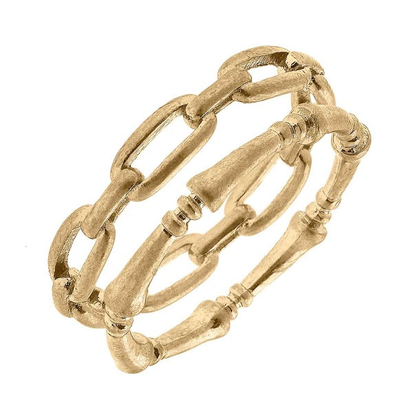 Stacking Chain Link Ring Set   - Base Metal With Worn Gold - Set of 2