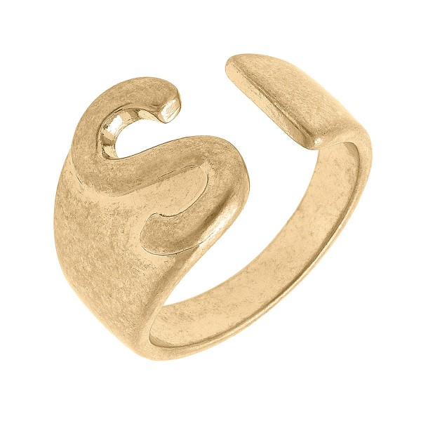 Adjustable Worn Gold Initial Ring   - One Size Fits Most