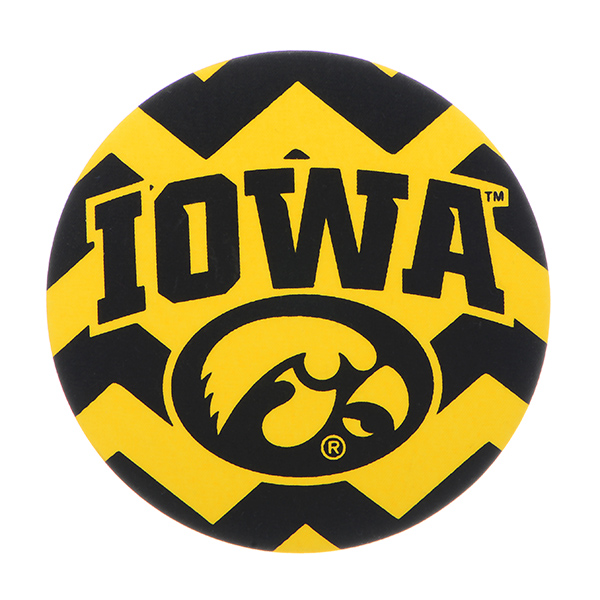 """Officially licensed 4"""" fabric chevron button featuring the Iowa logo."""