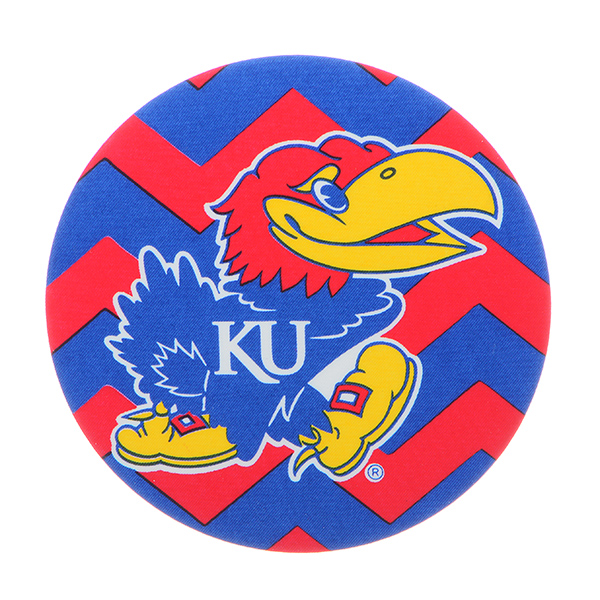 """Officially licensed 4"""" fabric chevron button featuring the Kansas University logo."""