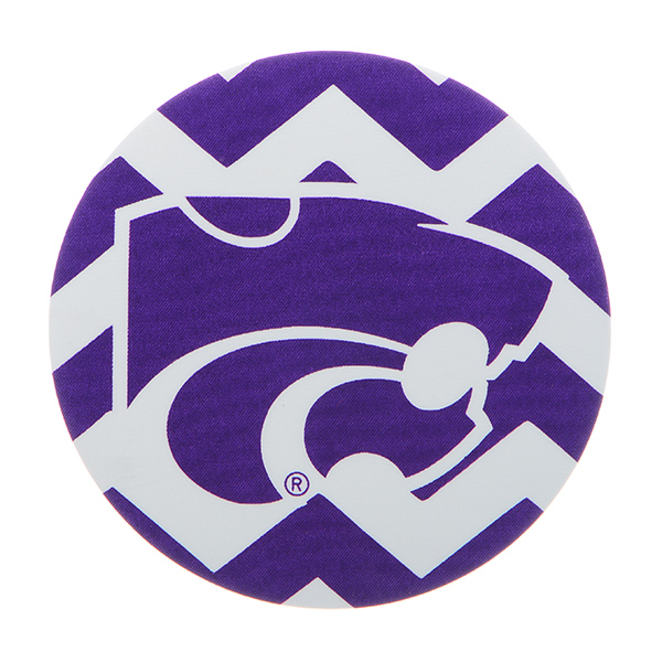 "Officially licensed 4"" fabric chevron button featuring the Kansas State logo."