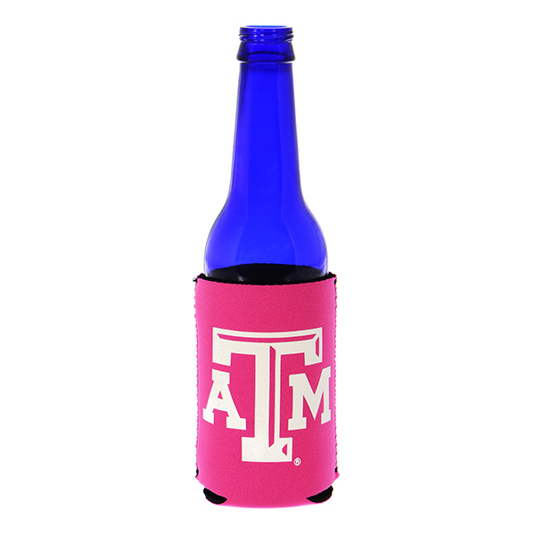 Officially licensed hot pink coozy featuring the Texas A & M logo.
