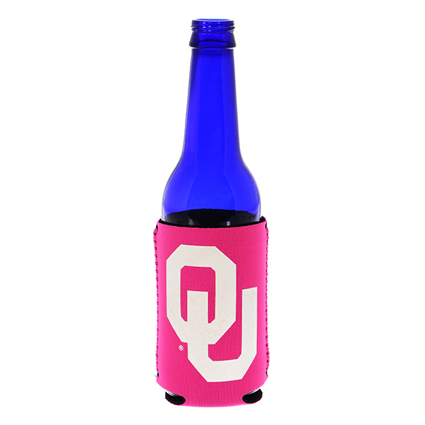 Officially licensed hot pink coozy featuring the Oklahoma University logo.